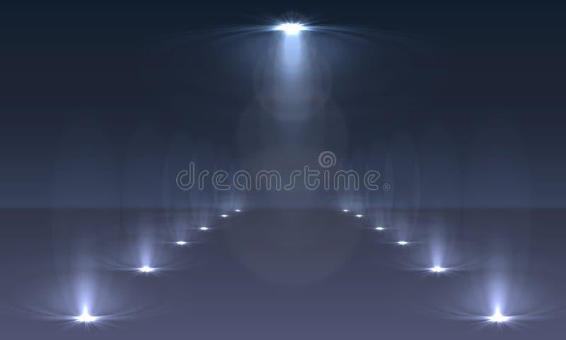 De lichteffecten van de schijnwerperssc?ne Vector van de stadium de lichte schijnwerper stock illustratie