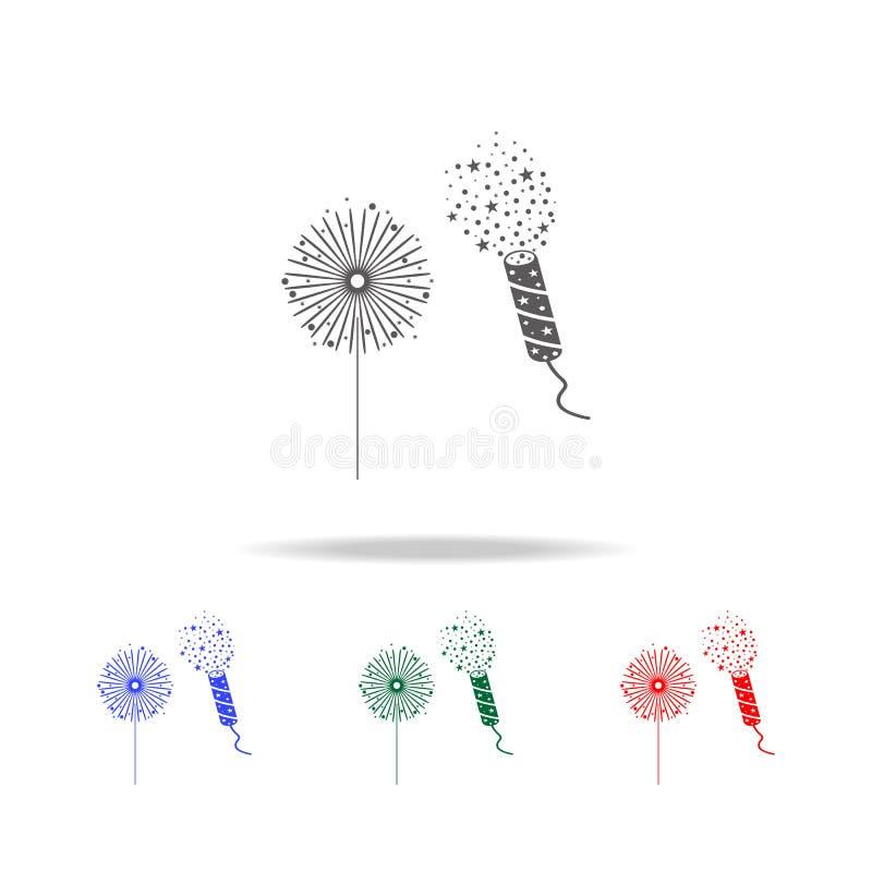 De lichten van Bengalen en crackerpictogram Elementen van Kerstmisvakantie in multi gekleurde pictogrammen Grafisch het ontwerppi vector illustratie