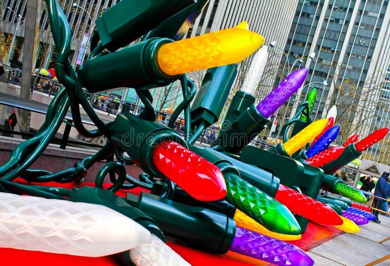 De lichten van de kerstboom in Manhattan, NYC. stock afbeelding