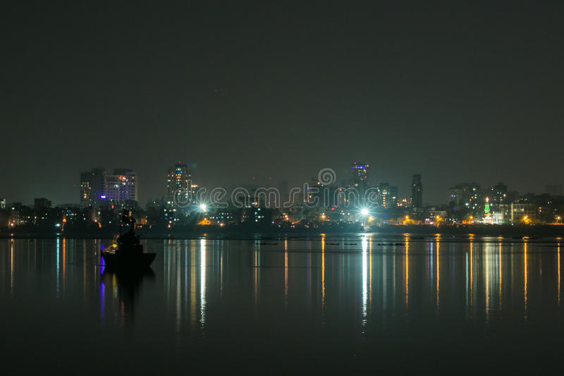 De lichten van de Mumbainacht stock fotografie