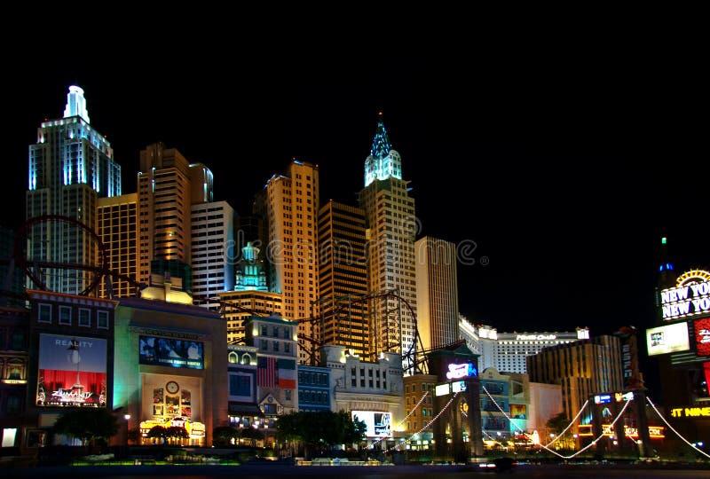 De lichten van de nacht van New York van Vegas stock foto's