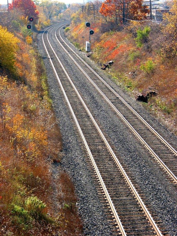 De lichten van de spoorweg en van het einde royalty-vrije stock afbeelding