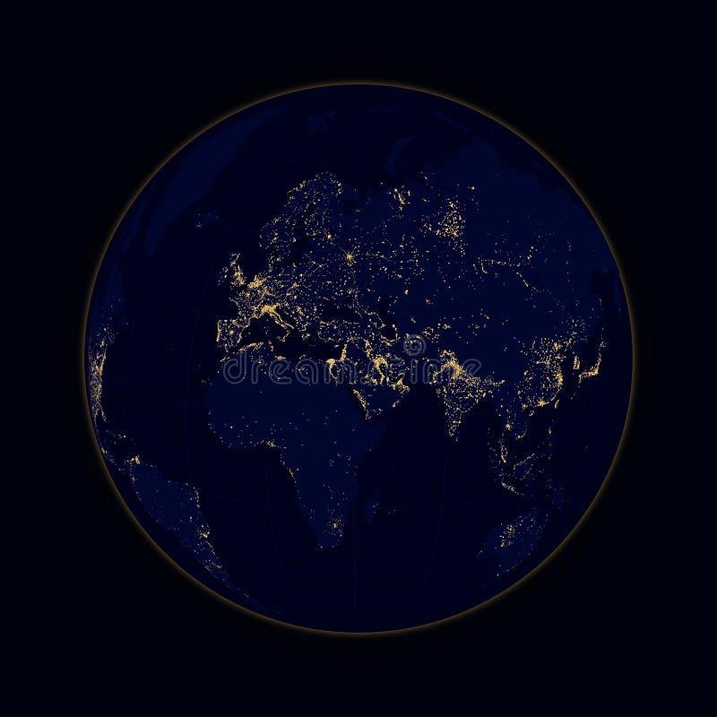 De lichten van het aardegebied van steden Afrika, Europa en Azië Vector stock illustratie