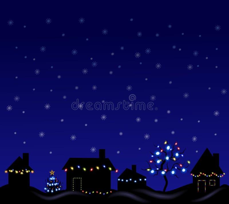 De Lichten van Kerstmis bij Nacht stock illustratie