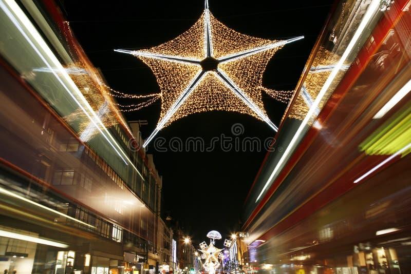 De Lichten van Kerstmis in Londen stock foto's
