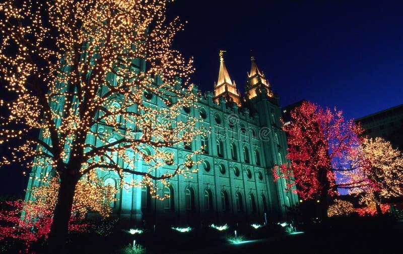 De lichten van Kerstmis op tempelvierkant stock fotografie