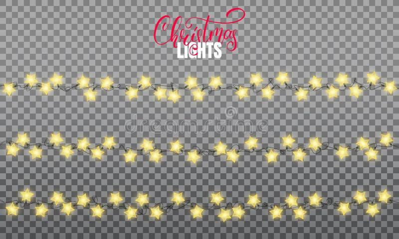 De Lichten van Kerstmis Realistische het ontwerpelementen van koordlichten van de lampen van de stervorm Het gloeien lichten voor vector illustratie