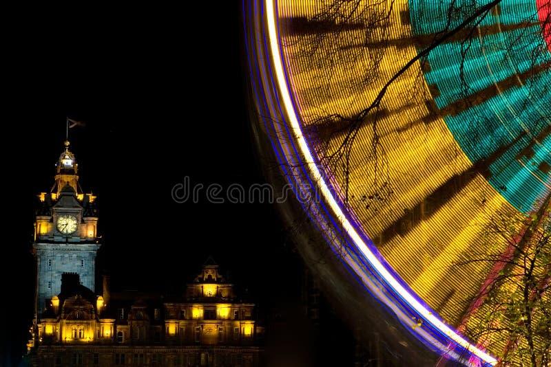 De Lichten van Kerstmis van Edinburgh stock foto
