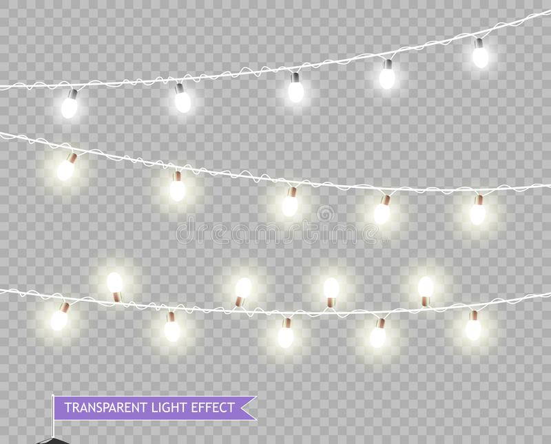 De Lichten van Kerstmis Vectorkerstmis het gloeien lichten Slingers om winkelaffiches, banners, vakantiekaarten voor het Nieuwe j royalty-vrije illustratie