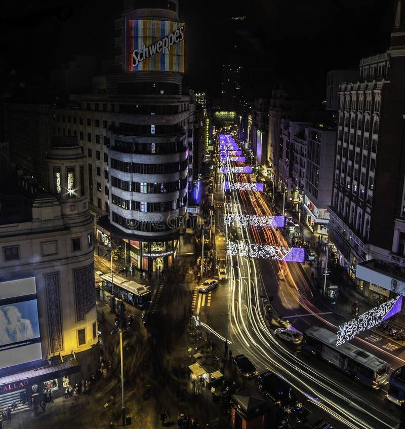 De lichten van Madrid stock foto