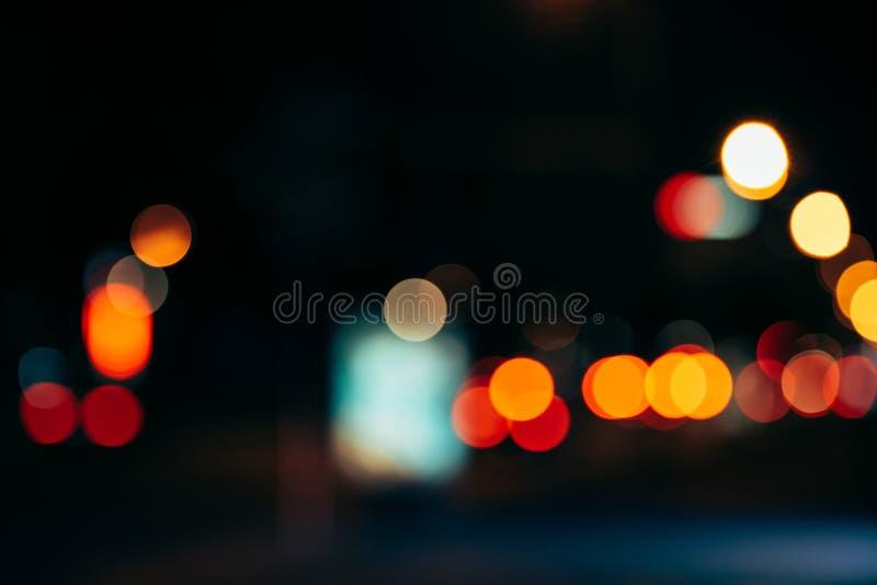 de lichten van de nachtstad in bokeh royalty-vrije stock fotografie