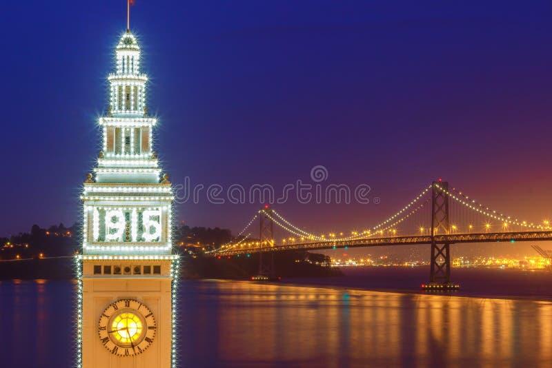 De Lichten van San Francisco Ferry Building 1915 royalty-vrije stock foto