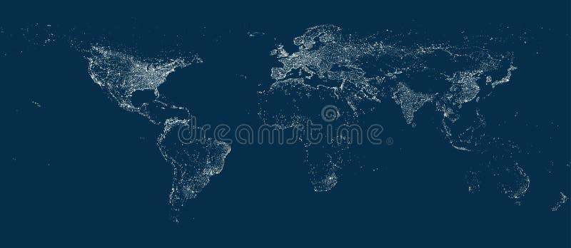 De lichtenkaart van de Earthstad op de zachte donkere achtergrond vector illustratie
