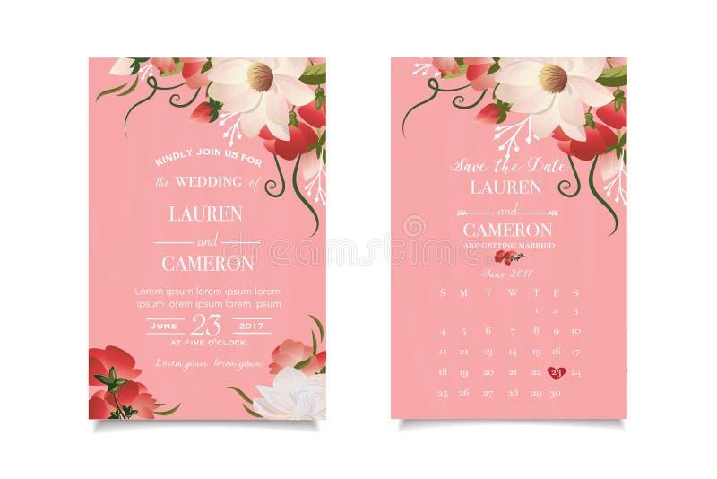De lichtrose bloemen van de behangwaterverf, witte kalligrafische tekst Het ontwerp van het huwelijk stock illustratie