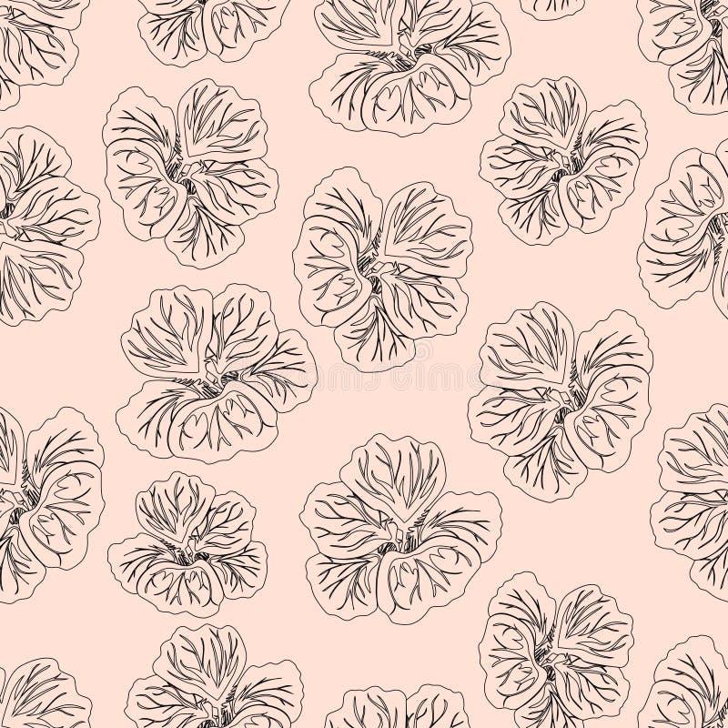 De lichtrose druk van de Hibiscusbloem Schitterende Oostindische kers Bloemen patroon Trendy naadloze achtergrond De textuur van  stock illustratie