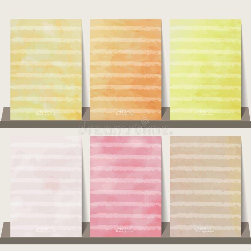 De lichtrose, oranje, gele achtergrond van de waterverfinzameling voor bedelaars vector illustratie