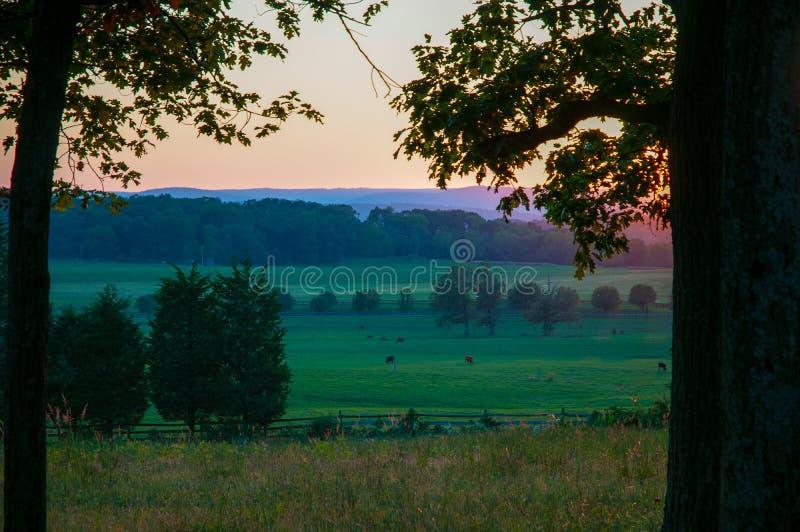 De lidstaat kampeert Seminarie Ridge Sunset stock afbeeldingen