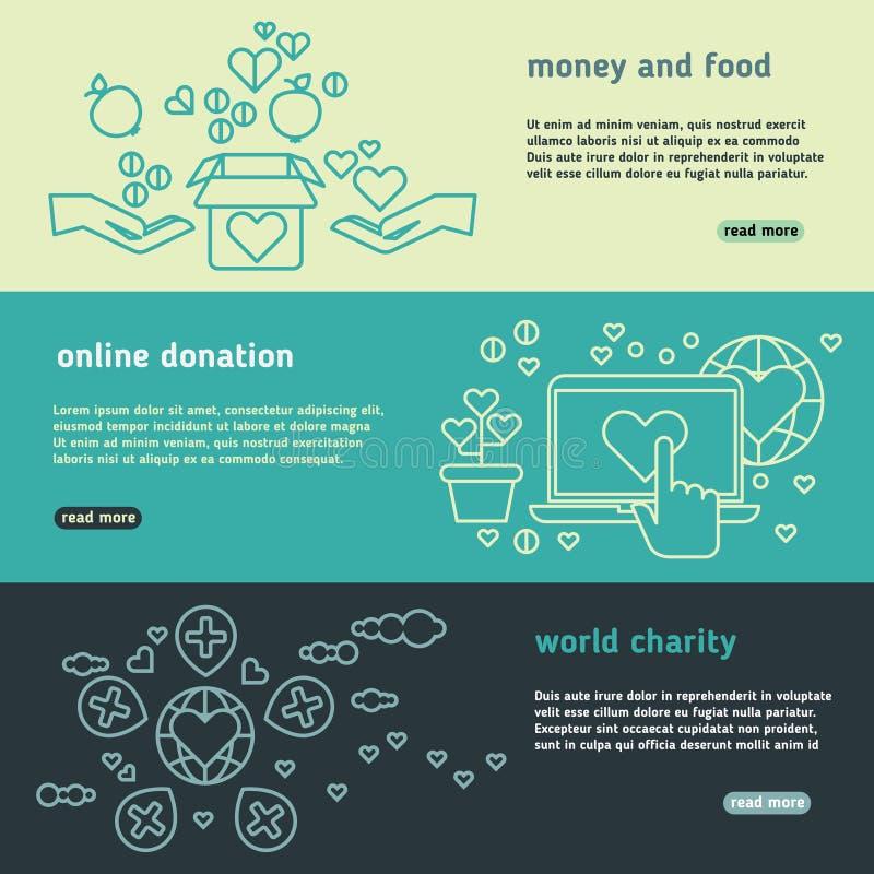 De liefdadigheid, familiehulp, schenkt het leven, organisatie zonder winstbejag, humanitaire vector geplaatste banners royalty-vrije illustratie