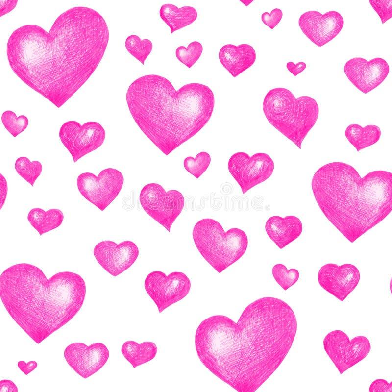 De liefde als thema heeft naadloze textuur Naadloos patroon met roze die harten op wit wordt geïsoleerd stock foto's
