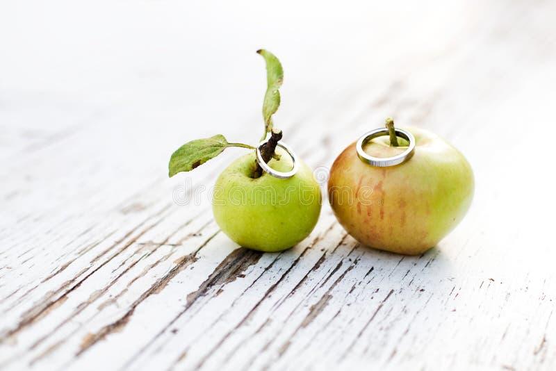 De liefde is in de appel, trouwringen royalty-vrije stock fotografie