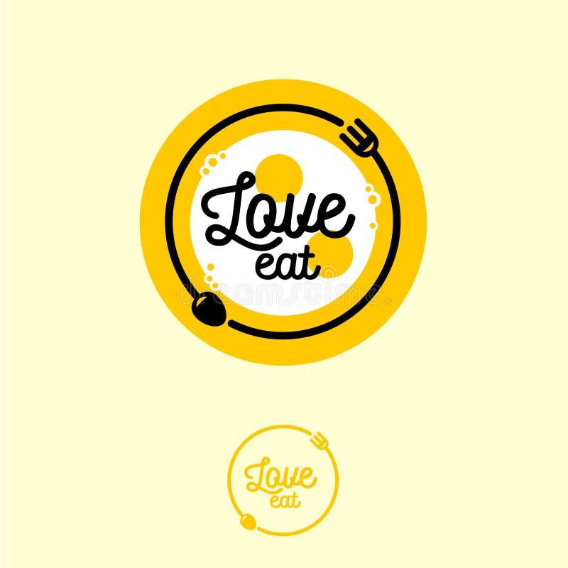 De liefde eet embleem Koffie of restaurantembleem Vork, lepel en gebraden eieren in de gele plaat vector illustratie