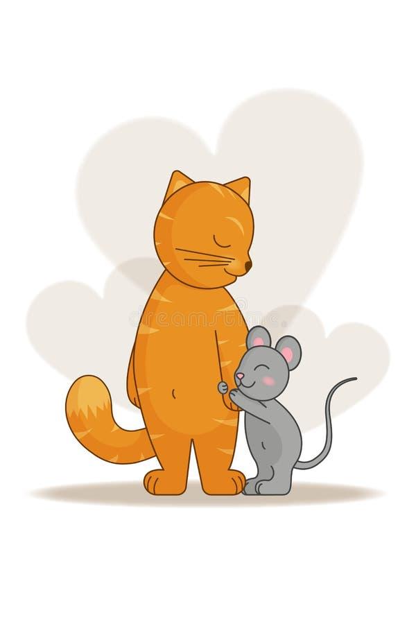 De liefde en de vriendschap van kat en muis stock illustratie
