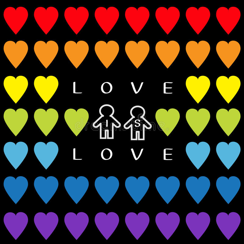 De liefde is liefdetekst De reeks van het regenbooghart Vrolijk symbool Twee van de huwelijkstrots het teken Naadloos Patroon van royalty-vrije illustratie