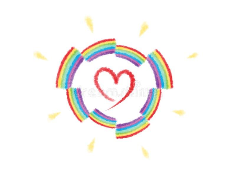 De Liefde Logo Illustration van de regenboogbrug vector illustratie