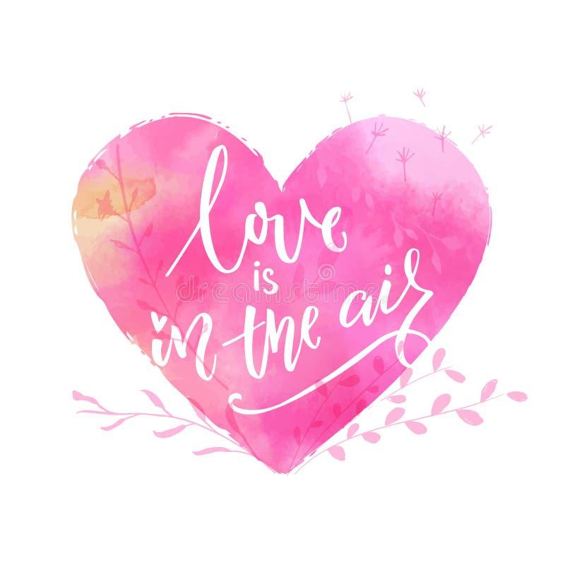 De liefde is in de lucht St Valentine ` s de kaart van de daggroet met roze waterverfhart royalty-vrije illustratie
