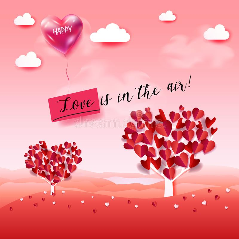 De liefde is in de lucht! Valentijnskaartendag stock illustratie
