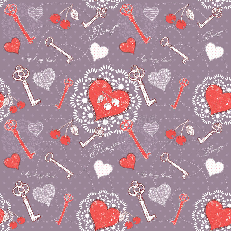 De liefde naadloos patroon van de valentijnskaart met sleutel tot hart royalty-vrije illustratie