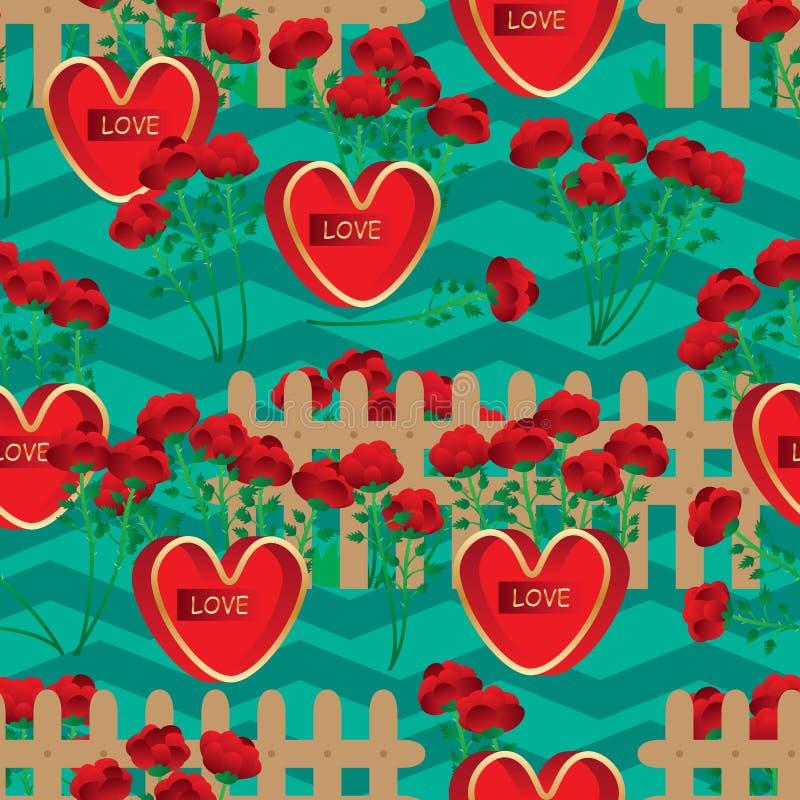 De liefde nam het naadloze patroon van Chevron van de bloemomheining toe royalty-vrije illustratie