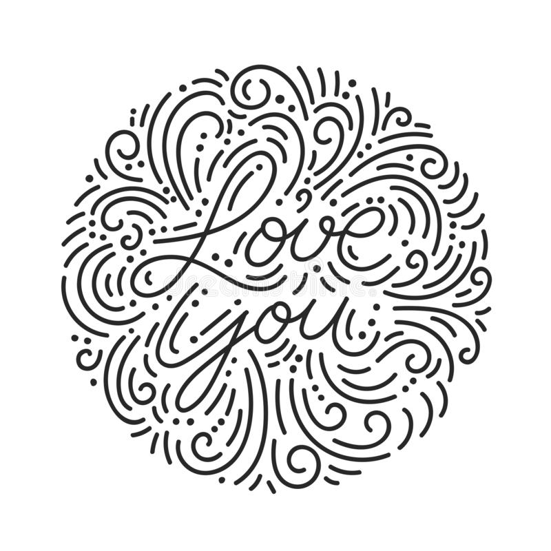 De liefde u overhandigt het getrokken zwarte van letters voorzien met krabbels stock illustratie