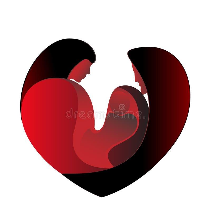 De liefde van de familie in een groot hart royalty-vrije illustratie
