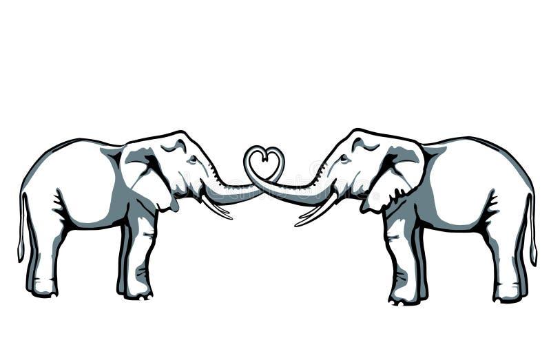 De liefde van de olifant royalty-vrije illustratie