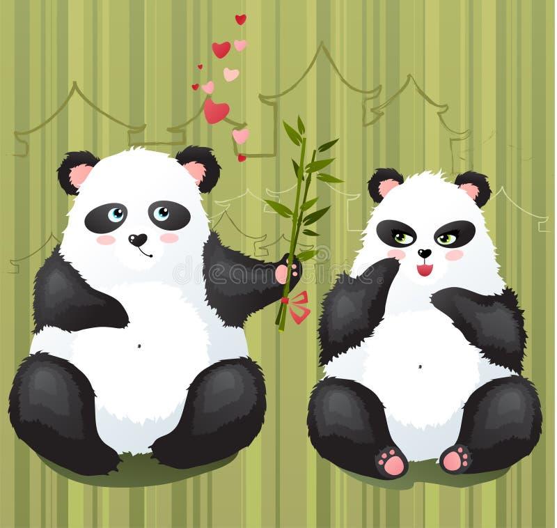 De liefde van de panda royalty-vrije illustratie