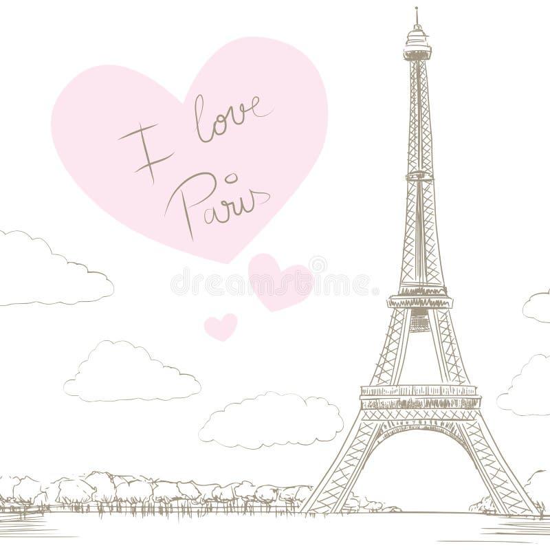 De Liefde van de Torenparijs van Eiffel royalty-vrije illustratie