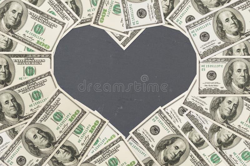 De liefde van geld met 100 dollar rekeningen royalty-vrije stock afbeelding