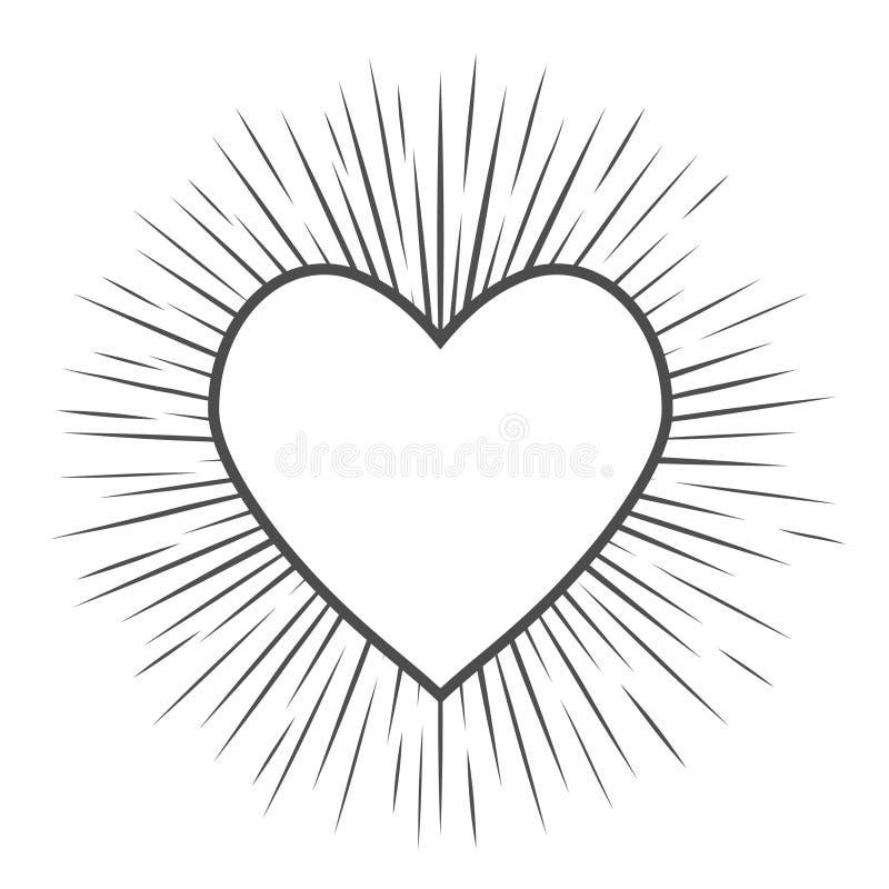 De liefde van het hartsymbool met lineair helderheidssilhouet op witte achtergrond royalty-vrije illustratie