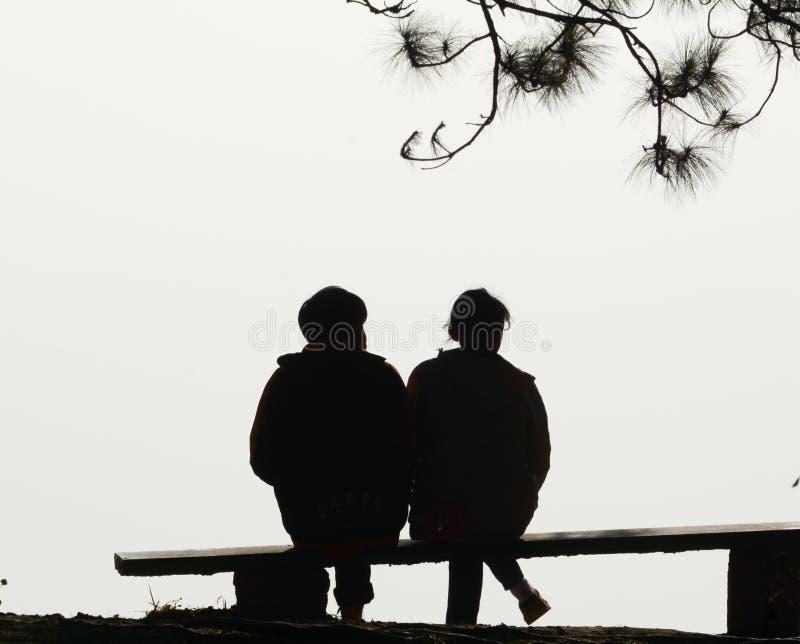 De liefde van het silhouetpaar stock foto's