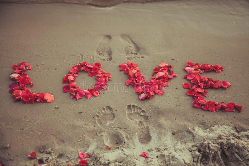 De liefde van het titelwoord in het zand van het overzees. Liefdeinschrijving van de bloemblaadjes van rozen. royalty-vrije stock foto