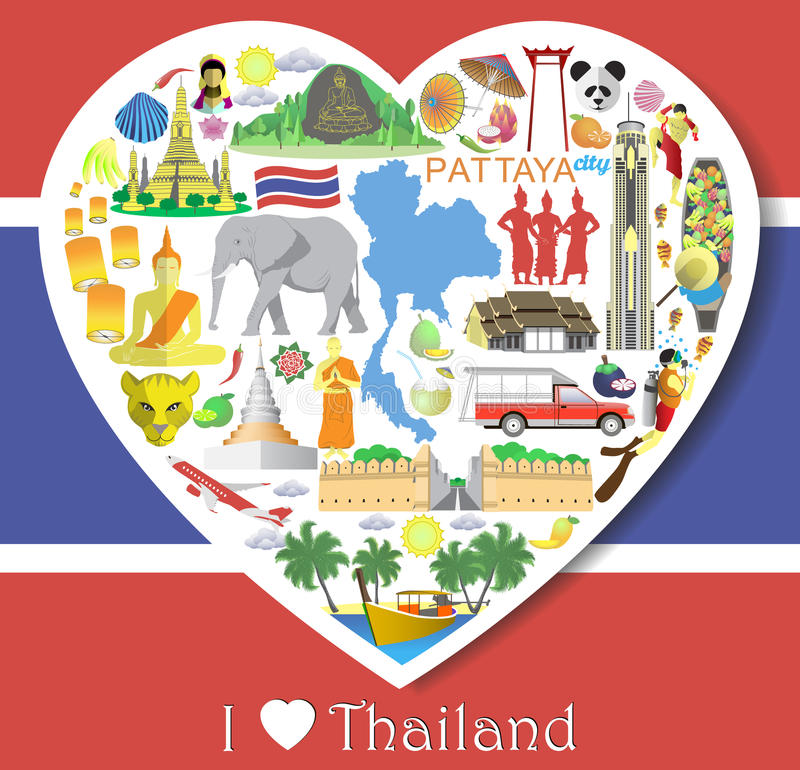 De liefde van Thailand Vastgestelde vectorpictogrammen en symbolen in vorm van hart royalty-vrije illustratie
