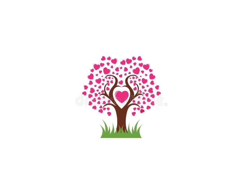 De liefdeboom met hart verlaat vectorillustratie vector illustratie