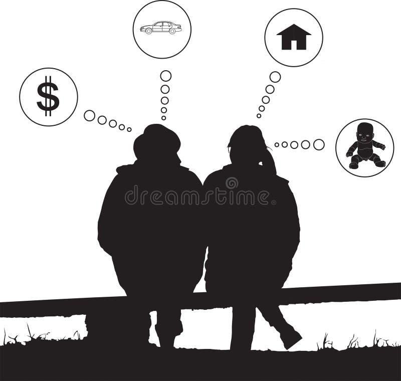 De liefdedroom van het silhouetpaar over toekomst stock illustratie