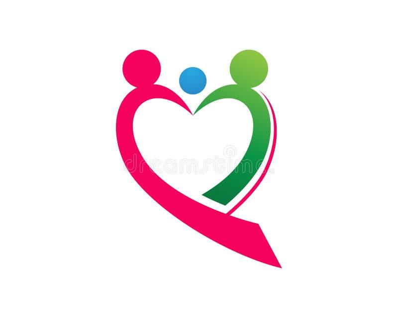 De liefdeembleem van de familiezorg en symbolenmalplaatje vector illustratie