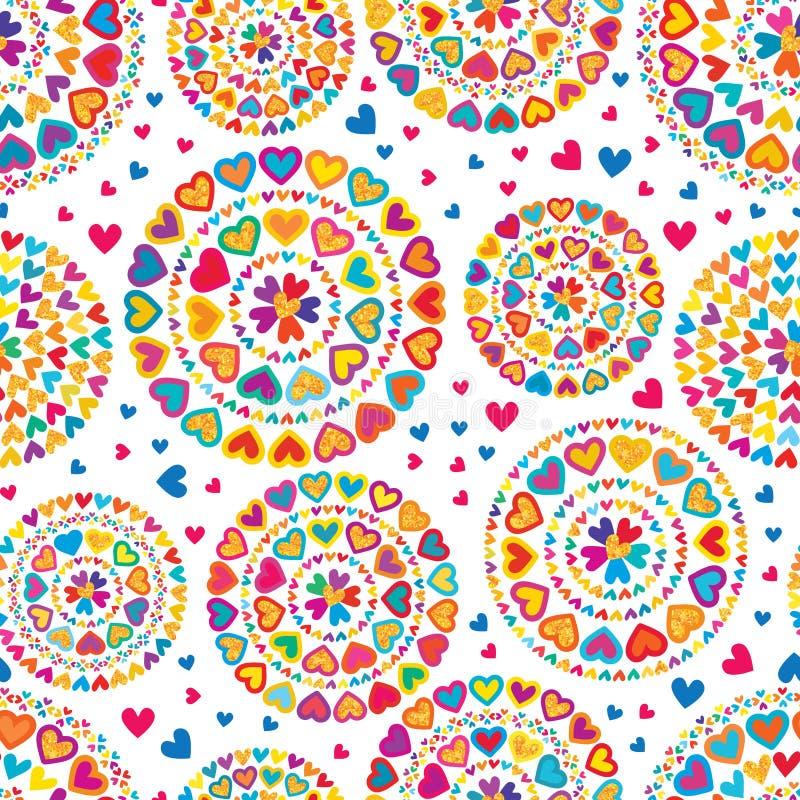 De liefdehand trekt kleurrijk schittert mandala naadloos patroon stock illustratie