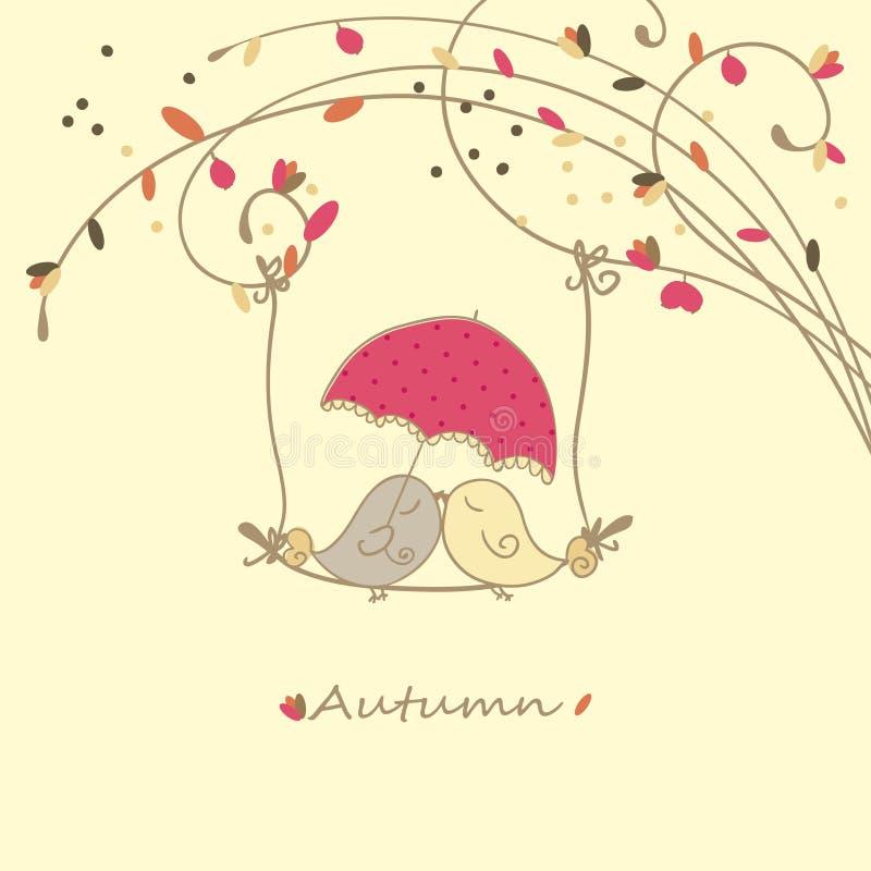 De liefdekaart van de herfst vector illustratie