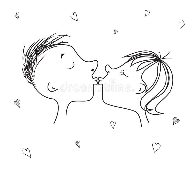 De liefdekus en het hart voor de Dag of de huwelijken van Valentine ` s stock illustratie