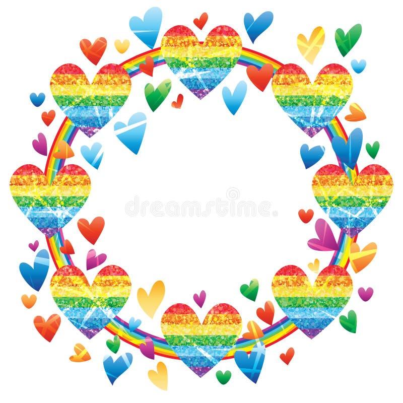 De liefderegenboog schittert het kadereffect van de regenbooglijn royalty-vrije illustratie