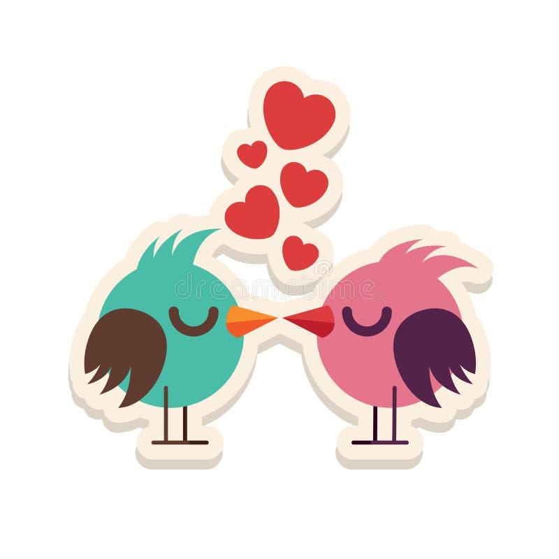 De liefdevogels die van de groetkaart de gelukkige vectorillustratie van Valentine Day kussen Patroonontwerp Vlieger of uitnodigi stock illustratie